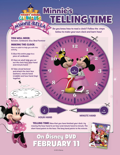 Free Printable Clock Craft - Disney's Mickey Mouse Clubhouse Minnie-rella