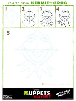 Muppets Most Wanted Printable – How to Draw Kermit the Frog