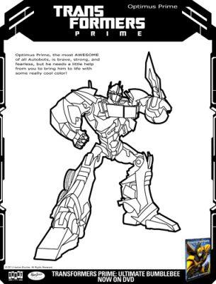 Transformers Optimus Prime Printable Coloring Page