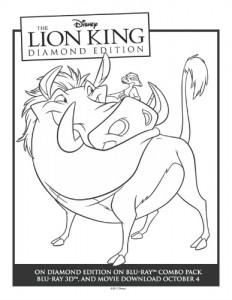 Printable Timon & Pumbaa Lion King Coloring Sheet