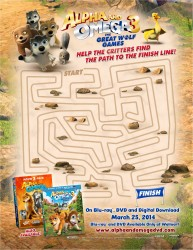 Free Printable Maze from Alpha and Omega 3: The Great Wolf Games