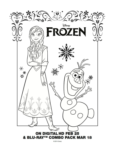 Free Printable Disney Frozen Anna and Olaf Coloring Page #disney #frozen #frozen2 #freeprintable #coloringpage #anna #olaf #disneyprincess