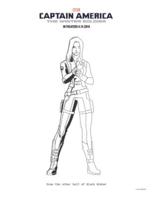 Printable Captain America: The Winter Soldier Black Widow Coloring Page