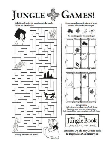 Free Printable Disney Jungle Book Games Activity Page