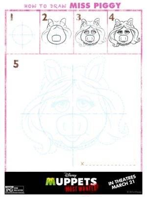 Muppets Most Wanted Printable – How to Draw Miss Piggy