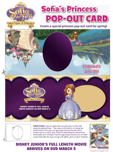 Sofia the First Printable Spring Card Craft
