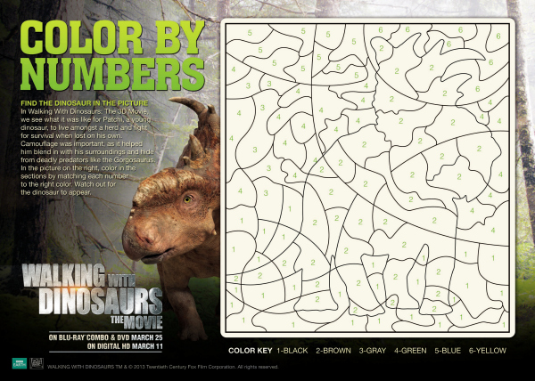 Walking With Dinosaurs Color By Numbers