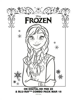 Disney Frozen Free Printable Coloring Page – Anna