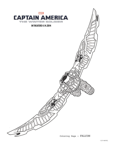 Download Avengers Coloring Pages Here Blackwidow: Captain America: The Winter Soldier Falcon Coloring Page