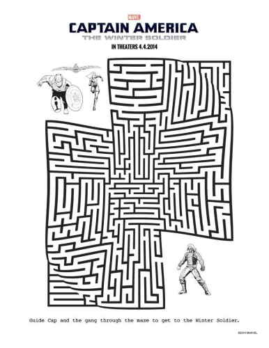 Download Avengers Coloring Pages Here Blackwidow: Free Captain America Printable Maze