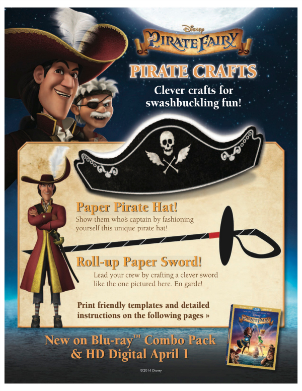 Disney Pirate Fairy Printable Crafts - Pirate Hat & Sword
