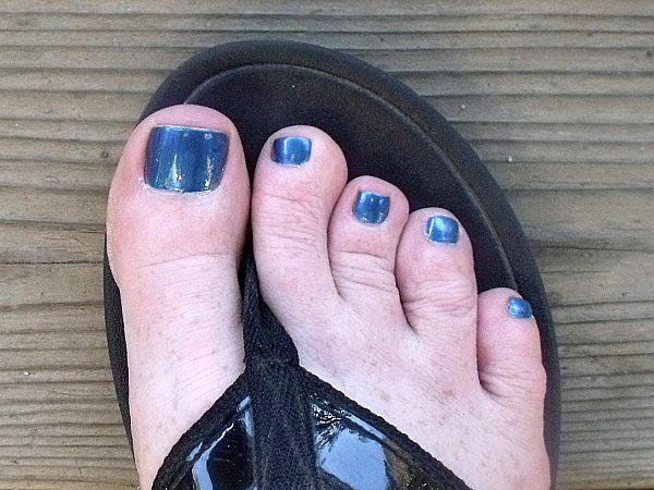 Blue Nail Polish on my Toes