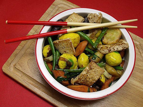 Marinated Tofu and Vegetable Stir Fry