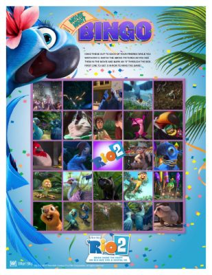 Rio 2 Printable Movie Night Bingo Game
