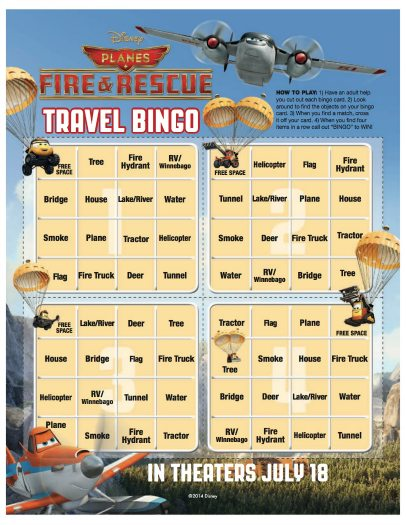Disney Planes Fire & Rescue Printable Travel Bingo Game
