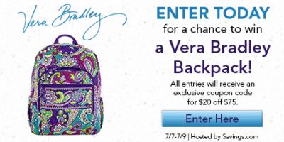 Vera Bradley Backpack Giveaway – EXPIRED