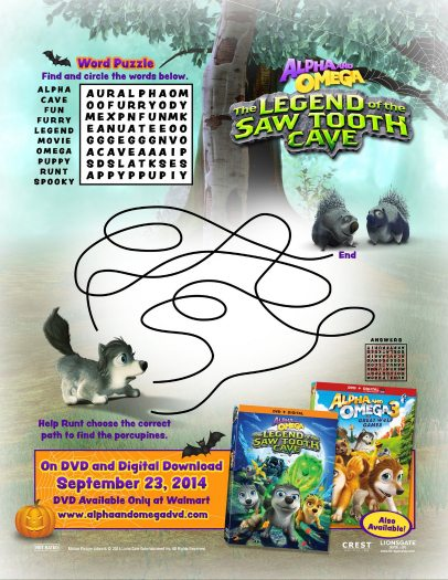 Alpha and Omega Legend of the Saw Tooth Cave activity sheet