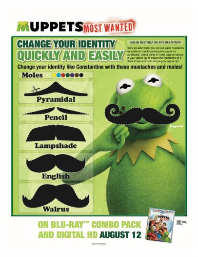 Muppets Most Wanted Free Printable Moustaches