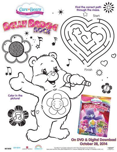 Care Bears Printable Belly Badge Rock Activity Page | Mama ...
