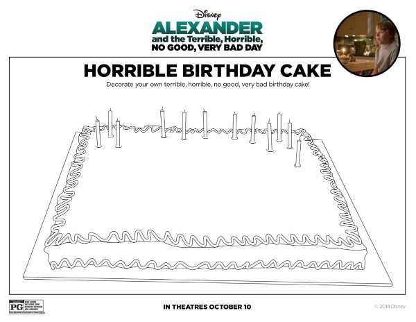 Free Printable Disney Alexander Horrible Birthday Cake Coloring