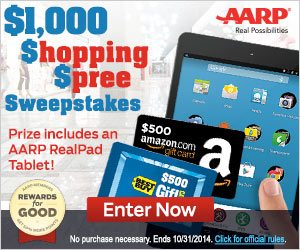 AARP $1,000 Shopping Spree Sweepstakes – EXPIRED