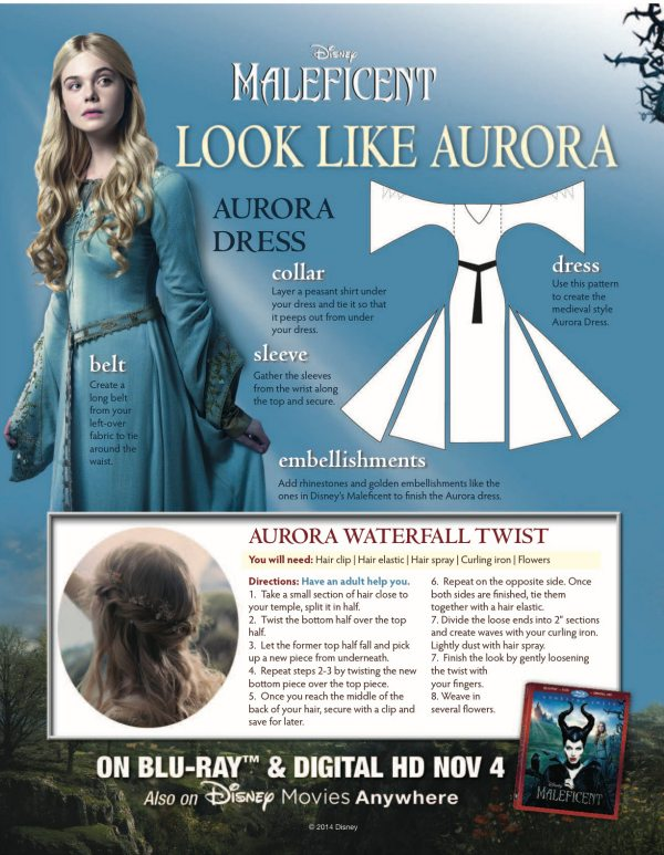Maleficent Aurora Halloween Costume & Hair Instructions