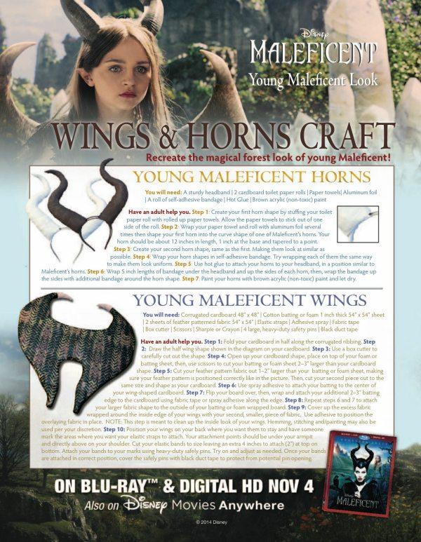 Free Printable Maleficent Horns & Wings Halloween Craft