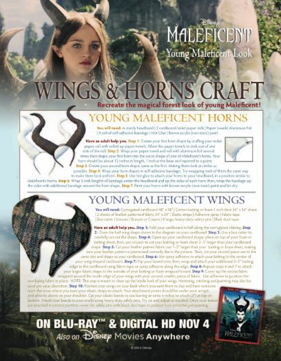 Disney Maleficent Horns & Wings Halloween Craft with free printable instructions