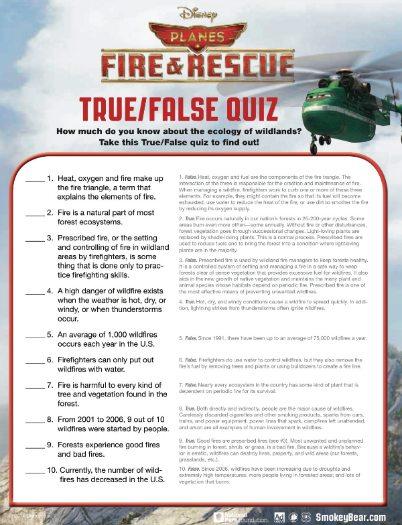 Free Printable Disney Planes Fire and Rescue True False Quiz – Free Printable Quiz