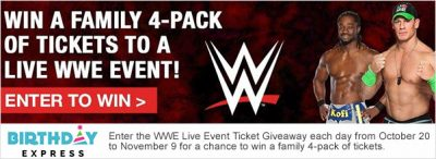 Birthday Express WWE Ticket Giveaway – EXPIRED