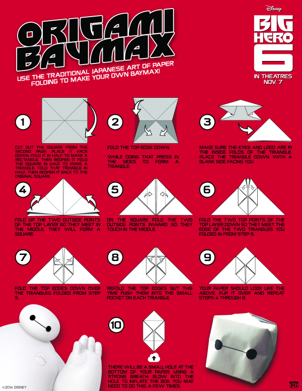 Disney Big Hero 6 Printable Origami Craft