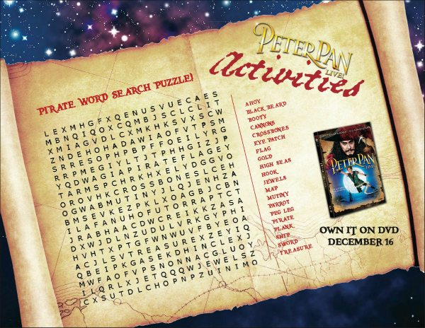 Peter Pan Printable Word Search Puzzle