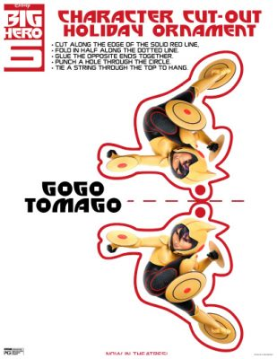 Disney Big Hero 6 GoGo Tomago Holiday Ornament Craft