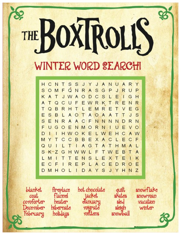 photo regarding Winter Word Search Printable named The Boxtrolls Printable Wintertime Phrase Seem Puzzle Mama