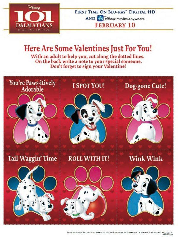 Free Disney 101 Dalmatians Printable Valentines