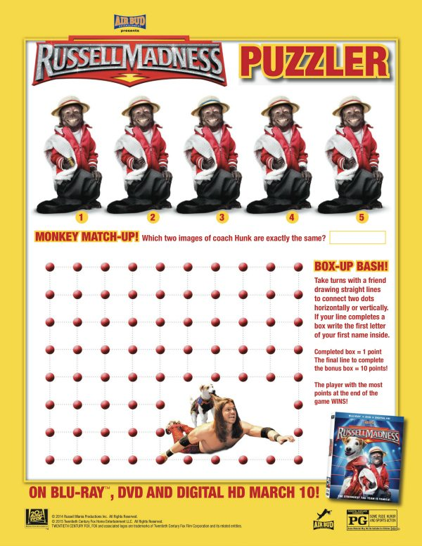 Free Printable Russell Madness Puzzler Activity Page