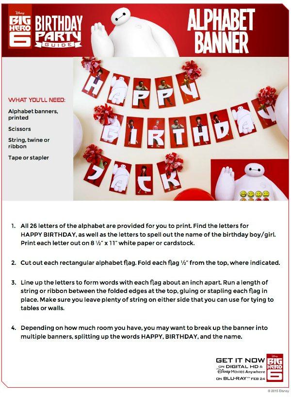 Free Printable Disney Big Hero 6 Birthday Party Banner
