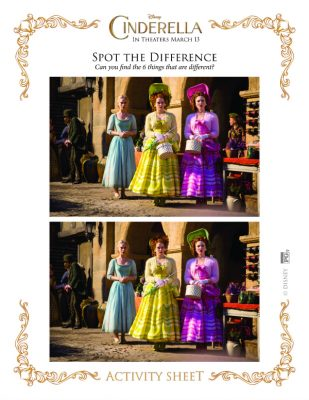 Printable Disney Cinderella Spot the Difference Activity