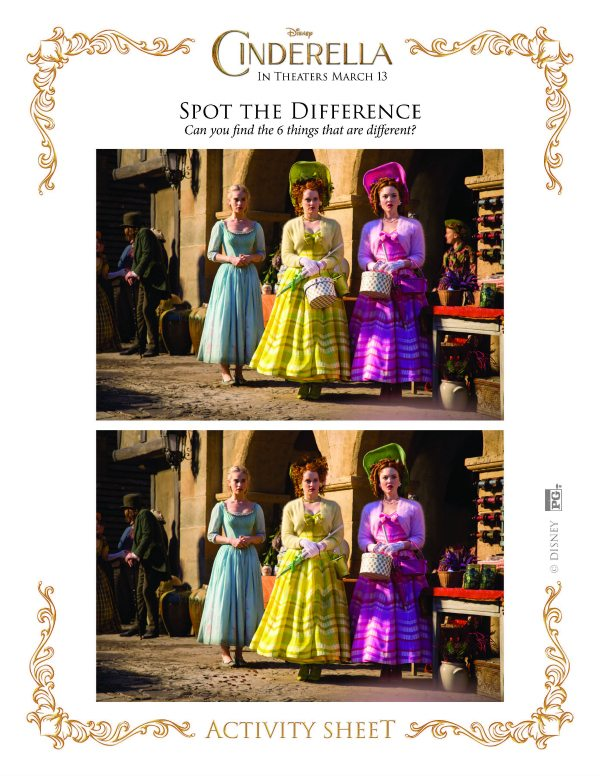 Printable Disney Cinderella Spot the Difference Activity | Mama ...
