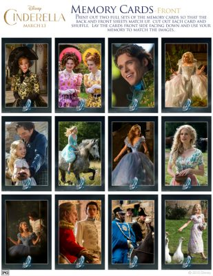 Free Disney Cinderella Printable Memory Card Matching Game