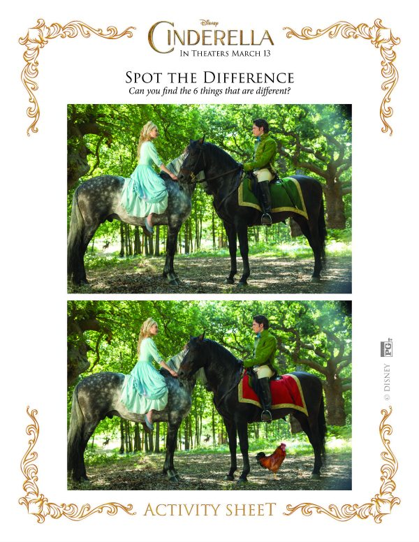 Disney Cinderella Spot the Difference Activity Page