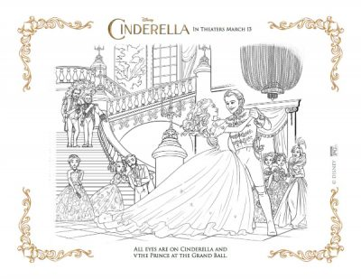 Free Disney Coloring Page – Cinderella and The Prince at The Grand Ball