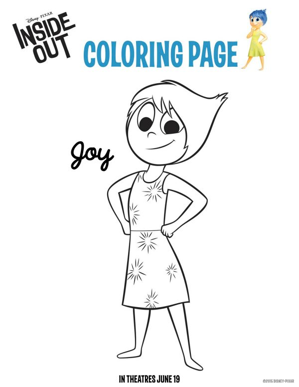 Free Printable Disney Pixar Inside Out Joy Coloring Page