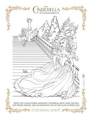 Free Printable Cinderella Coloring Page from Disney