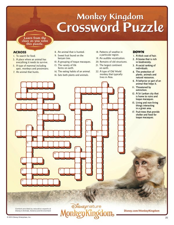 image about Disney Crossword Puzzles Printable named Disney Monkey Kingdom Printable Crossword Puzzle Mama