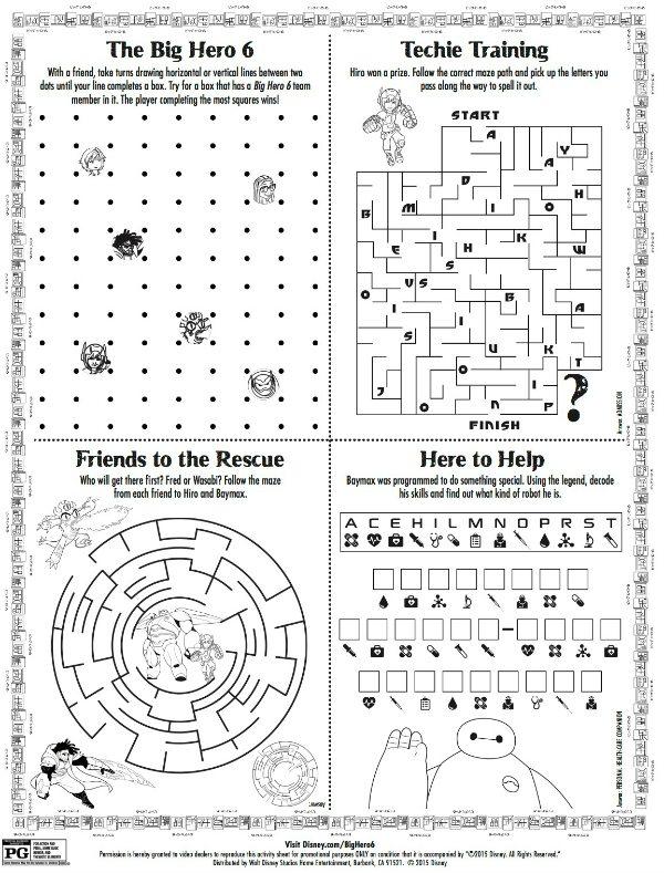Disney Big Hero 6 Printable Puzzle Page : Mama Likes This