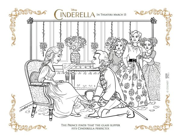Disney cinderella s glass slipper free printable coloring for Glass slipper coloring page