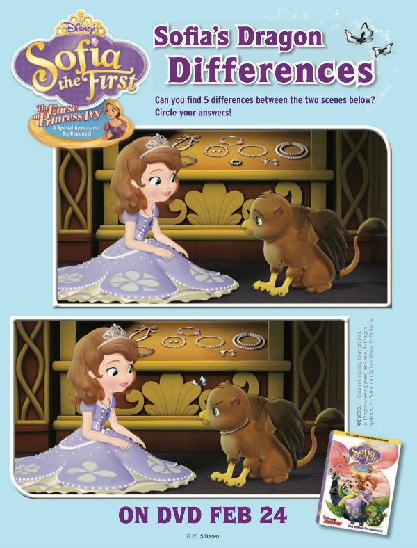 Sofia the First Spot the Differences Activity Page