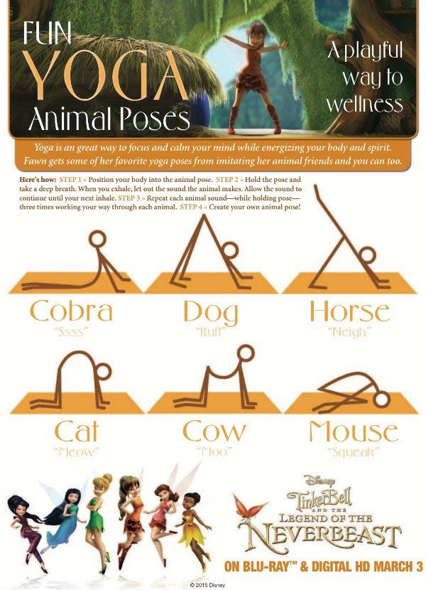 Free Printable Animal Yoga Poses from Disney & Tinker Bell