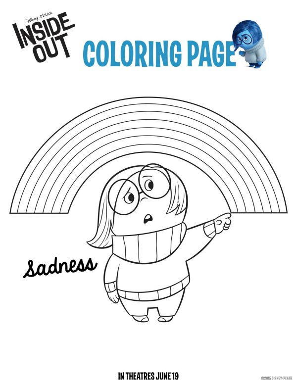 Disney Pixar Inside Out Sadness Coloring Page